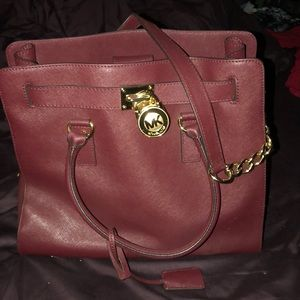 Cranberry leather MK handbag